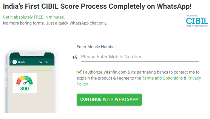 download free cibil score whatsapp